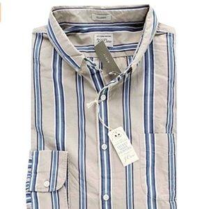 J Crew Men's Classic Fit Striped Secret Wash Shirt